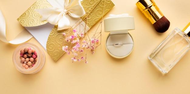 Accesorios para el concepto de boda de novia