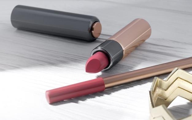 Accesorios personales para niña: maquillaje, barra de labios rosa y pulsera dorada