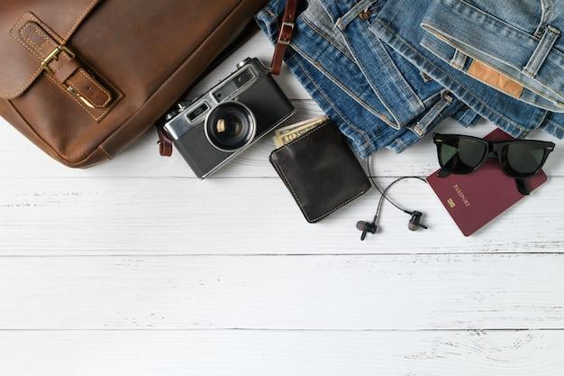 Accesorios para el plan de viaje, viaje de vacaciones,