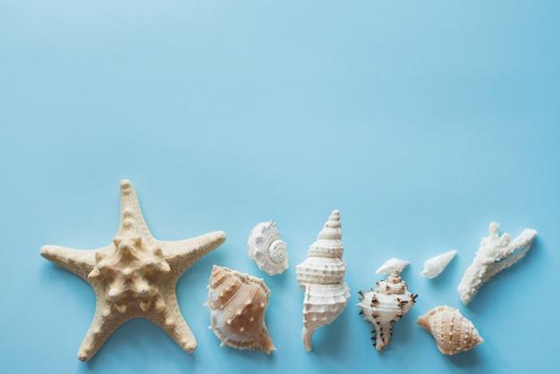Accesorios de viajero plano laico, espacio de copia con conchas marinas, dinero y gafas de sol.