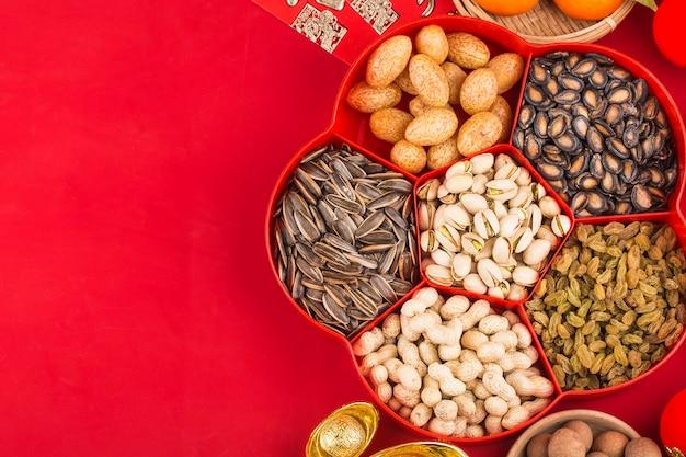 Accesorios de la vista superior decoraciones del festival del año nuevo chino. bendición china de gran suerte