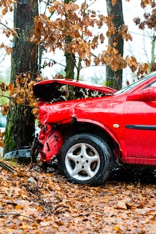 Accidente, auto chocó contra un árbol