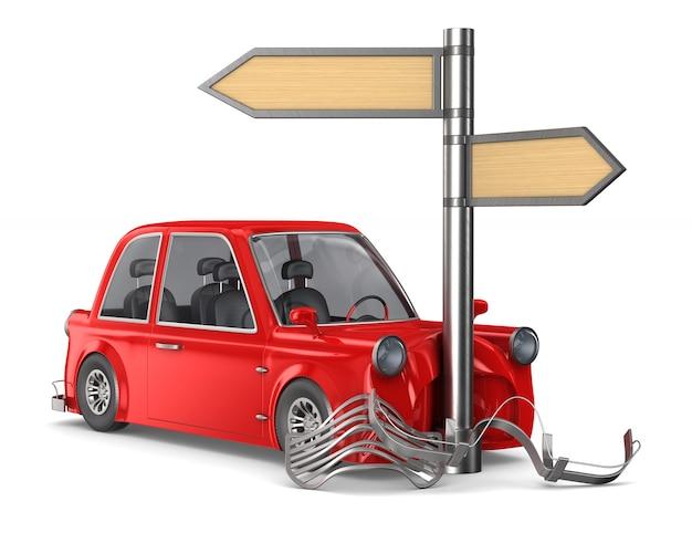 Accidente de coche en blanco