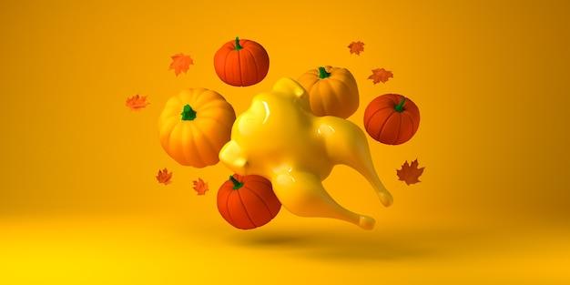 Acción de gracias con pavo, calabazas y hojas de otoño. copie el espacio. ilustración 3d.
