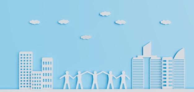 Acción de liderazgo con trabajo en equipo exitoso, diseños de arte en papel, renderizado de ilustraciones 3d