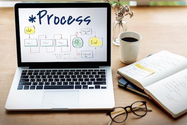 Acción proceso indicaciones icono de verificación del rendimiento