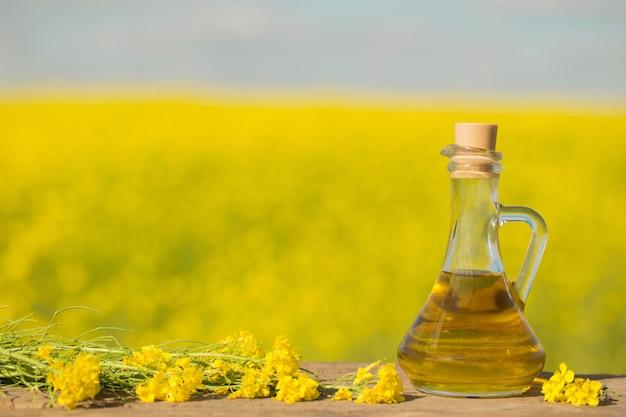 Aceite de colza (canola) en campo de colza