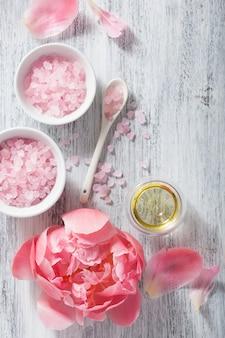 Aceite esencial de flor rosa peonía sal para spa y aromaterapia