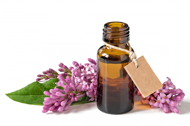 Aceite esencial relajante, flores frescas, relajación. aislado en un fondo blanco.