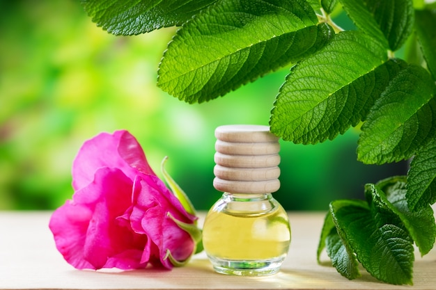 Aceite esencial de rosa mosqueta en botella de vidrio.