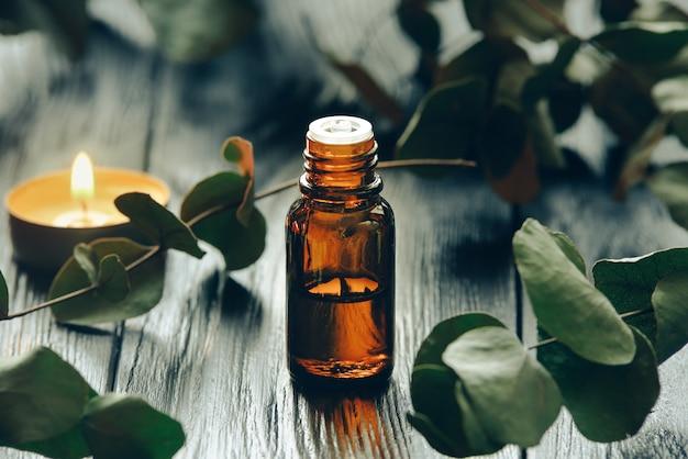 Aceite de eucalipto y hojas de eucalipto