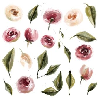 Aceite de flores rosas y hojas de colección.