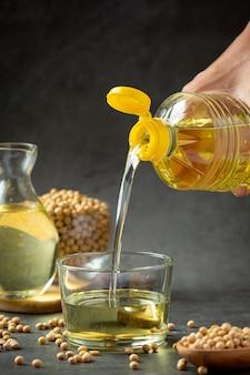 Aceite de soja productos alimenticios y bebidas de soja concepto de nutrición alimentaria.