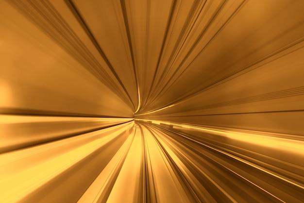 Acelera el movimiento borroso del tren o metro que se mueve dentro del túnel.
