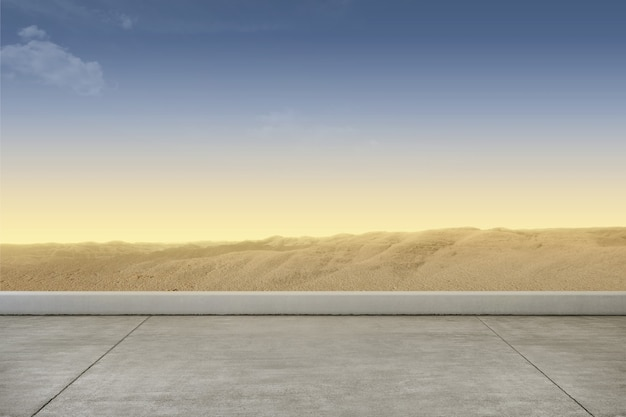 Acera con fondo de dunas de arena