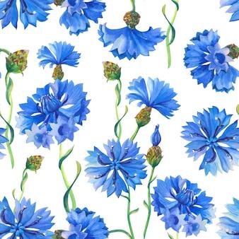 Acianos azules acuarela floral de patrones sin fisuras. ilustración con flores para tela