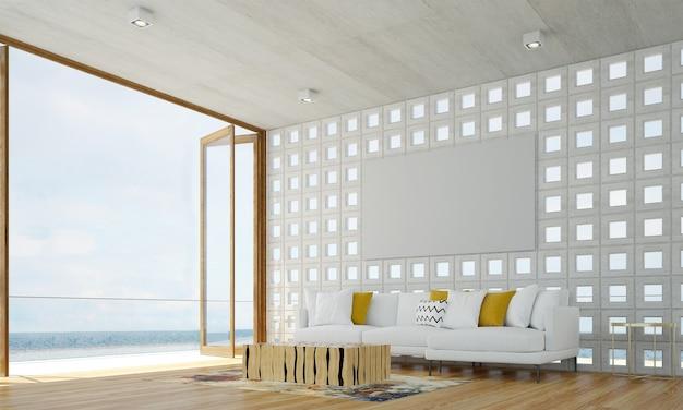 El acogedor diseño moderno del interior de la sala de estar tiene sofá, sillón y lámpara con pared de patrón de hormigón y vista al mar