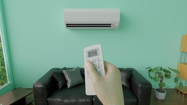 Acondicionador de aire con control remoto 3d render