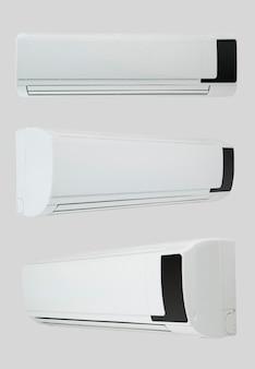 Acondicionador de aire doméstico sobre un fondo blanco con tres ángulos de cámara