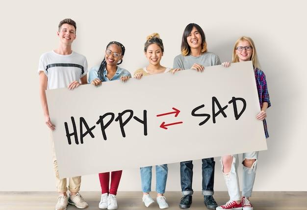 Actitud emocional mentalidad optimista positivo