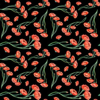 Acuarela amapolas rojas vintage de patrones sin fisuras