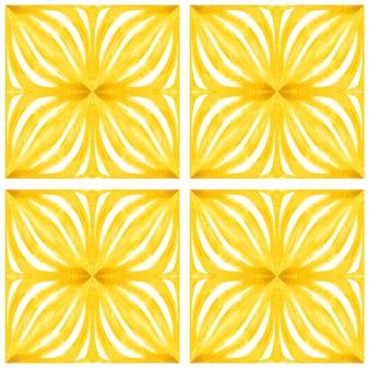 Acuarela de azulejo de patrones sin fisuras. azulejos de cerámica portuguesa tradicional. fondo abstracto dibujado a mano. obras de arte en acuarela para textiles, papel tapiz, impresión, diseño de trajes de baño. patrón de azulejo amarillo.
