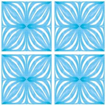 Acuarela de azulejo de patrones sin fisuras. azulejos de cerámica portuguesa tradicional. fondo abstracto dibujado a mano. obras de arte en acuarela para textiles, papel tapiz, impresión, diseño de trajes de baño. patrón de azulejo azul.