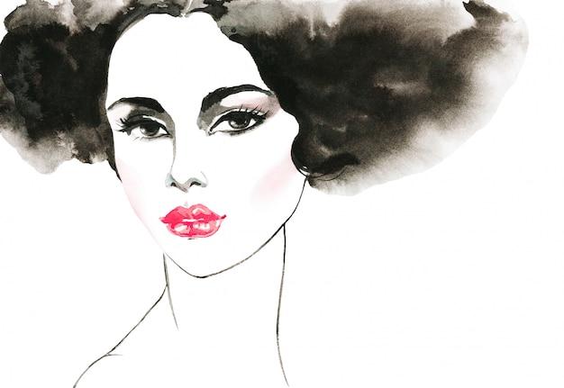 Acuarela belleza joven. dibujado a mano retrato de dama con labios rosados. ilustración de moda de pintura aislada