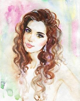 Acuarela belleza joven. dibujado a mano retrato de niña. ilustración de moda de pintura
