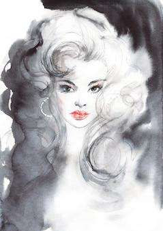 Acuarela belleza mujer europea. ilustración de moda de pintura en estilo vintage. retrato dibujado mano de bella dama