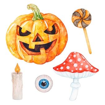 Acuarela colección de halloween en blanco.