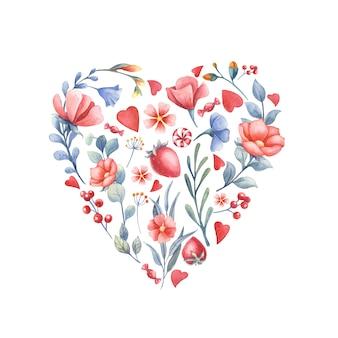 Acuarela corazón de flores, bayas y dulces.