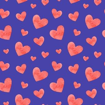 Acuarela corazones de patrones sin fisuras. dibujado a mano ilustración romántica. día de san valentín