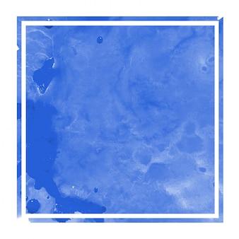 Acuarela dibujada mano azul en marco rectangular