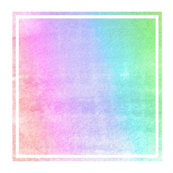Acuarela dibujada mano multicolor en marco rectangular