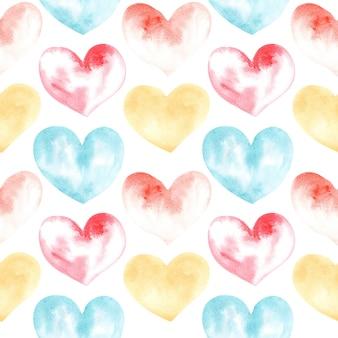 Acuarela, dibujo de patrones sin fisuras de formas de corazón