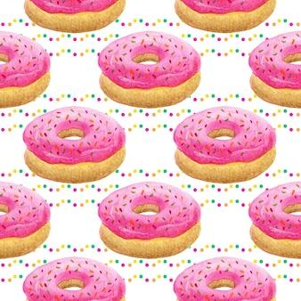 Acuarela donuts de patrones sin fisuras.