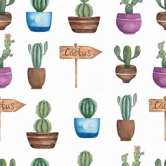Acuarela sin fisuras patrón de flores de cactus