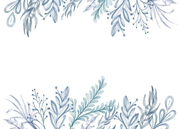 Acuarela flor marco hoja verano fondo