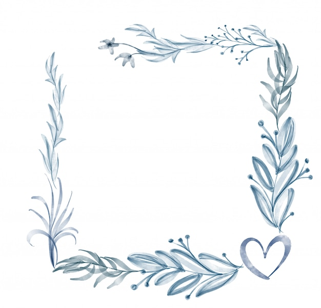 Acuarela flor marco hoja verano