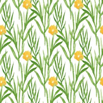 Acuarela floral de patrones sin fisuras con flores amarillas. se puede usar para envolver, textiles, papel tapiz y diseño de paquetes.