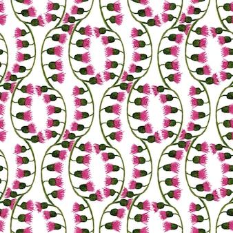Acuarela floral de patrones sin fisuras con flores de cardo. se puede usar para envolver, textiles, papel tapiz y diseño de paquetes.