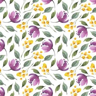 Acuarela floral de patrones sin fisuras de flores de color púrpura y hojas.