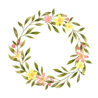 Acuarela floral redondo guirnalda marco frontera plantilla en blanco copia espacio aislado en blanco