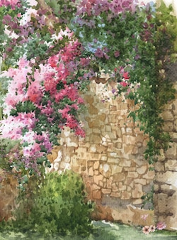 Acuarela de flores de colores abstractos. primavera con edificios y muros