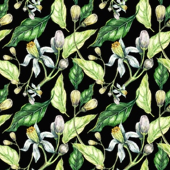 Acuarela flores y hojas verdes de patrones sin fisuras