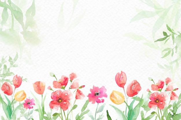 Acuarela de fondo de frontera de jardín de flores en temporada de primavera verde
