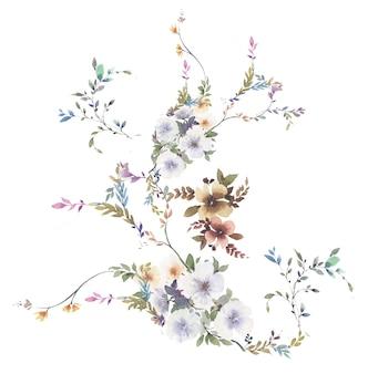 Acuarela de hojas y flores en blanco