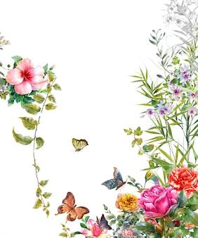 Acuarela de hojas y flores, mariposas sobre fondo blanco.