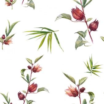 Acuarela de hojas y flores, de patrones sin fisuras en blanco